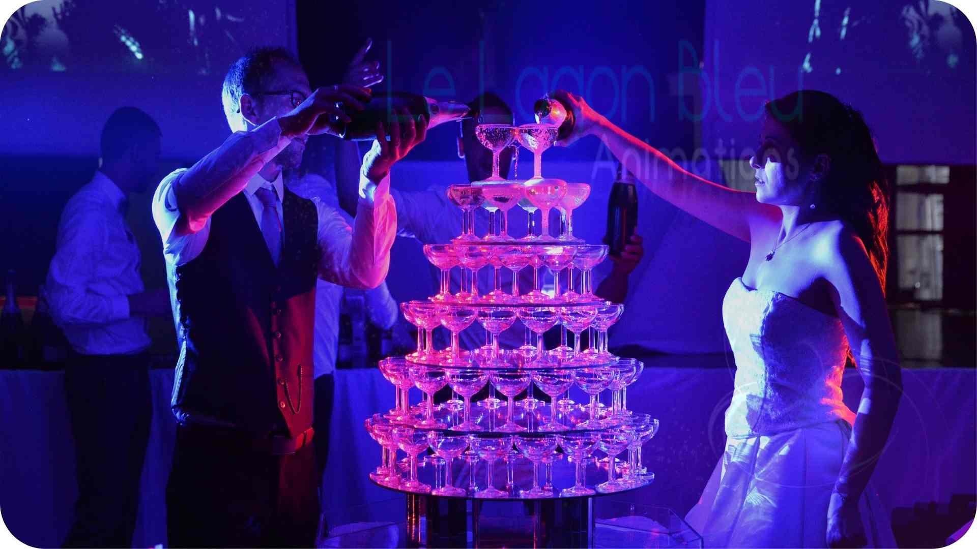 Fontaine à champagne - mariages clé en main - le lagon bleu animations